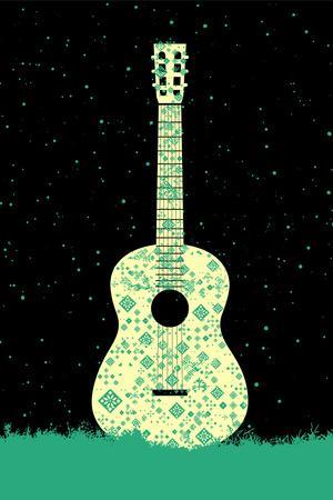 Music Poster. - Guitar Concept Made of Folk Ornament
