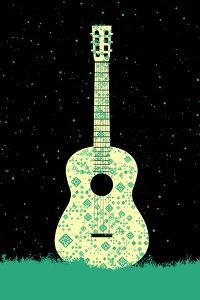 Music Poster. - Guitar Concept Made of Folk Ornament by ZOO BY