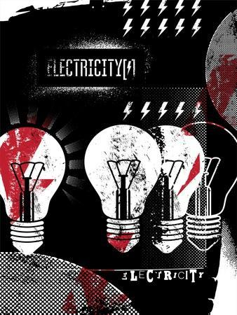 Retro Grunge Electricity Illustration.
