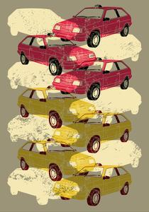 Retro Grunge Taxi Illustration. by ZOO BY