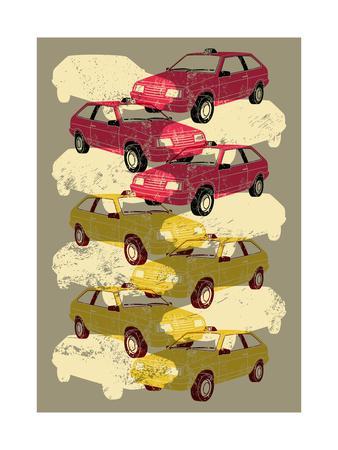 Retro Grunge Taxi Illustration.