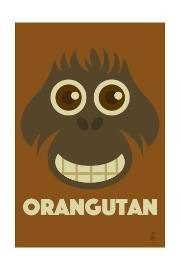 Zoo Faces - Orangutan-Lantern Press-Art Print