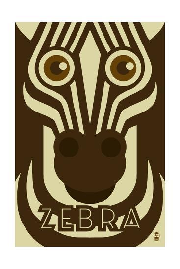 Zoo Faces - Zebra-Lantern Press-Art Print