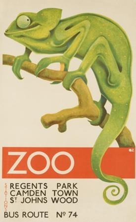 Zoo, Iguana London Bus Route No. 74 Advertising Poster