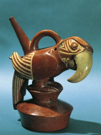 Zoomorphic Polychrome Terracotta Vessel in Shape of Parrot, Vicus Culture, Circa 100 B.C.--Photographic Print