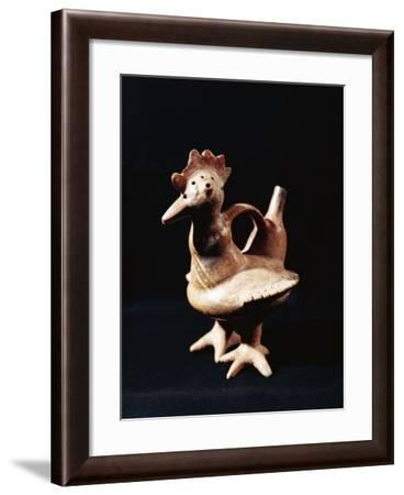 Zoomorphic Polychrome Terracotta Vessel in Shape of Rooster, Peru, Vicus Culture--Framed Photographic Print