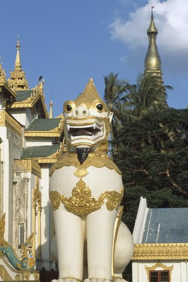 Zoomorphic Statue at Shwedagon Pagoda in Yangon or Rangoon, Myanmar--Photographic Print