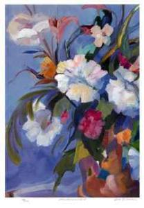 White Flowers in a Red Pot by Zora Buchanan
