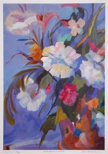 White Flowers in Red Pot by Zora Buchanan