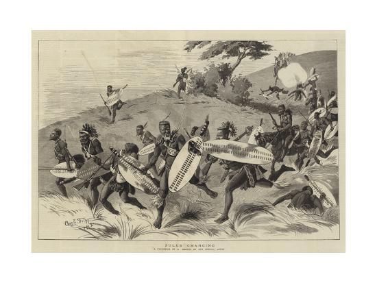 Zulus Charging-Charles Edwin Fripp-Giclee Print