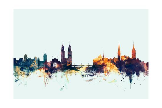 Zurich Switzerland Skyline-Michael Tompsett-Photographic Print