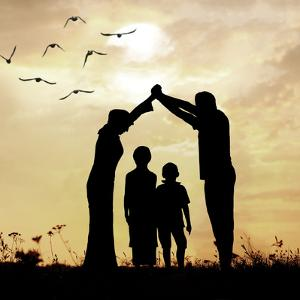 Family Parents and Children, Secure and Protecting Home by zurijeta