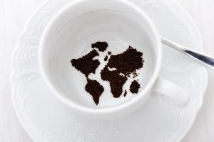 World Map In Coffee Cup by zurijeta