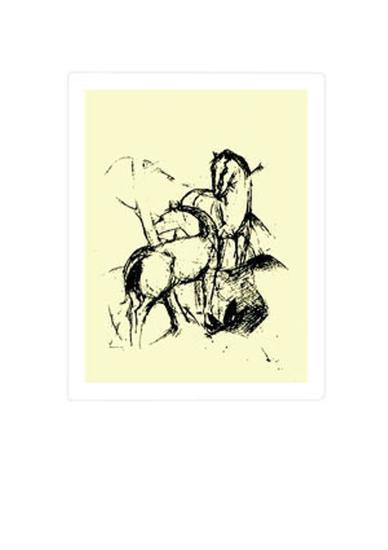 Zwei Pferde, c.1911-Franz Marc-Serigraph